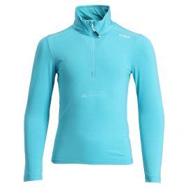 CMP, Half zip shirt melange, skipully, kinderen, turchese melange blauw