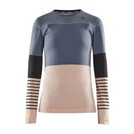 Craft, Fuseknit comfort Blocked RN LS, thermoshirt, dames, asphalt groen/roze