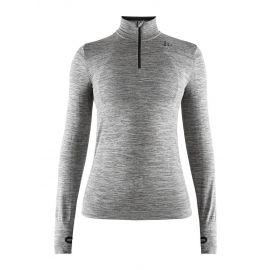 Craft, Fuseknit comfort zip, thermoshirt, dames, dark melange grijs