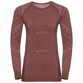 Odlo, Natural+Kinship Warm BL, thermoshirt, dames, melange rood