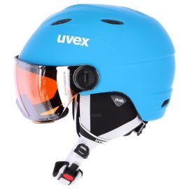 Uvex, Junior Visor Pro skihelm met vizier, kinderen, mat blauw-wit